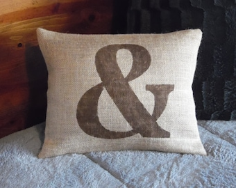 Custom made rustic country burlap ampersand - & - pillow cover/sham - Multiple sizes and custom color option