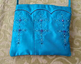 Turquoise Teal Beaded Silk Evening Purse