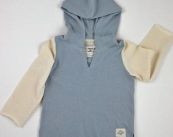 Organic Cotton Lightweight Jersey Knit Hoodie with contrast sleeves for Toddlers and Children