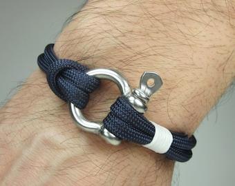 Paracord Bracelet in Navy Blue Survival Bracelet / Nautical Sailing Bracelet Stainless steel Shackle-Mens Bracelet-White Rope Bracelet