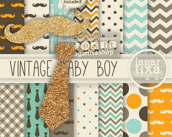 Digital Paper Vintage I Mustache You A Question scrapbooking orange brown turquoise Mustaches and Chevron Background by Lagartixa
