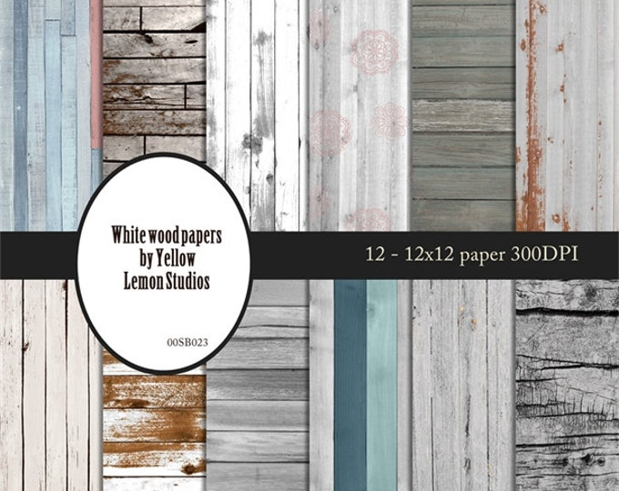 "Coastal wood backgrounds ""WHITE WOODS"" white, blue, peeling paint, painted, texture, fence, deck, white washed, drift wood, sand beach, sun"