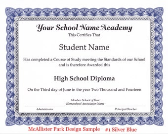 Homeschool Diploma, Certificate and Honor Roll