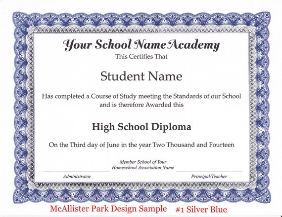 Homeschool Diploma Certificate and Honor Roll