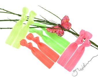 Neon Hair Ties Package: Elastic Knotted Hair Ties Ponytail Holder or Modern Stretchy Bracelet - No pulled hair, No dents, No fraying