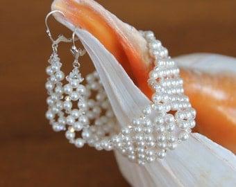 Swarovski Pearl & Crystal Bracelet and Earring Set