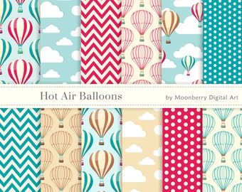 Hot Air Balloons Digital Papers - Colorful hot air balloons, chevron and clouds. Hot Air Ballons Digital Papers.Commercial Use.