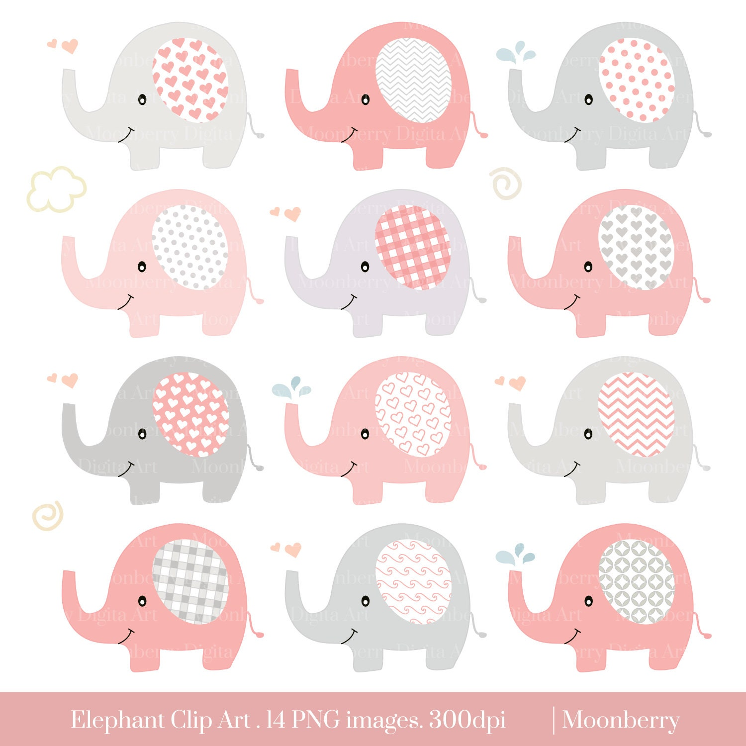 Elephant Clip Art Baby Shower Clipart Pink Elephants Pink Gray