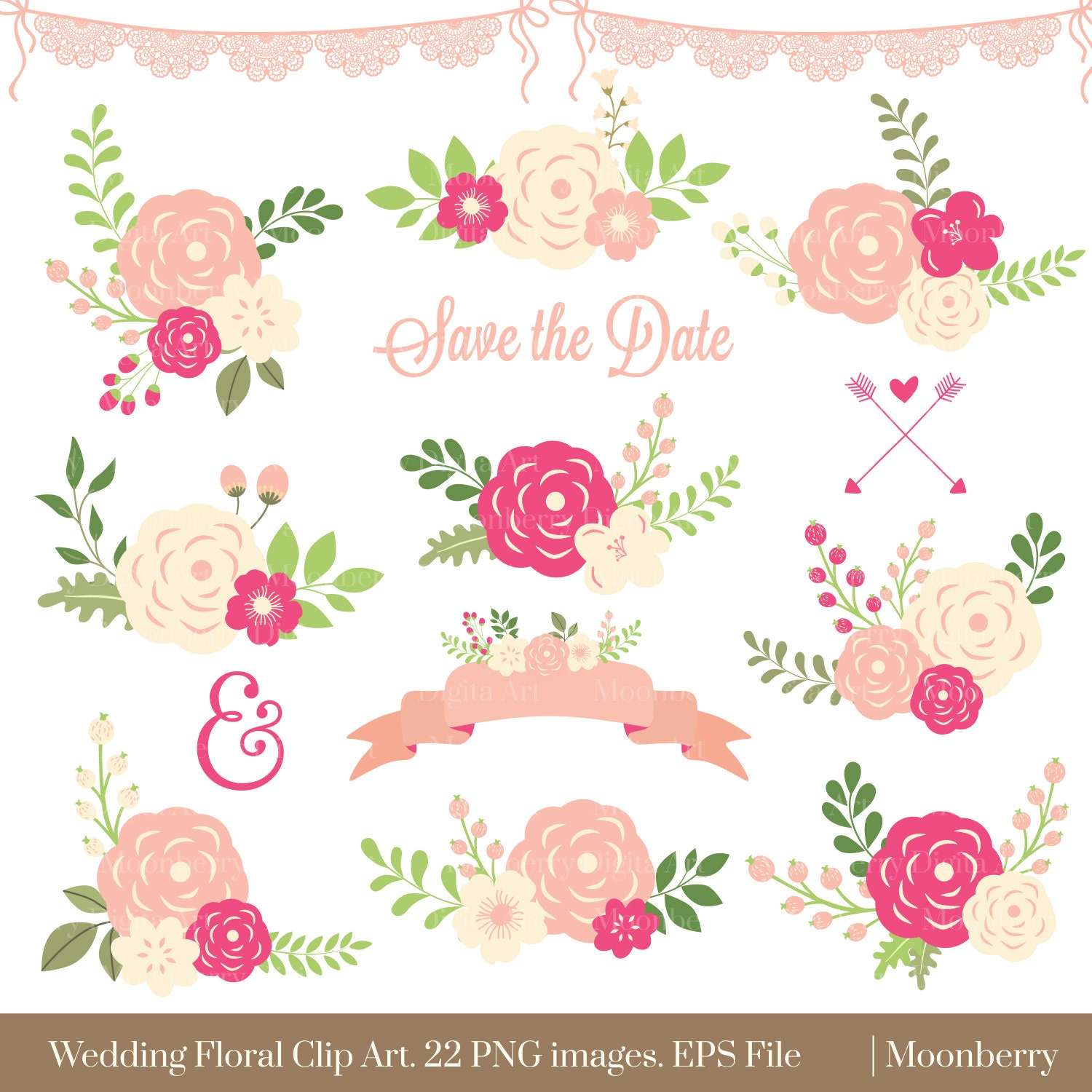 Sale Wedding Floral Clipart Flower Clipart Scrapbook Flowers