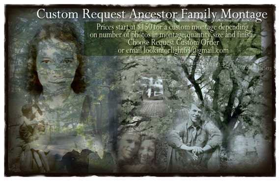 Family Photo Collage | Custom Ancestor Montage | Old family photos | Memorabilia Collage | Family history | photo art | OOAK Family Tree Art