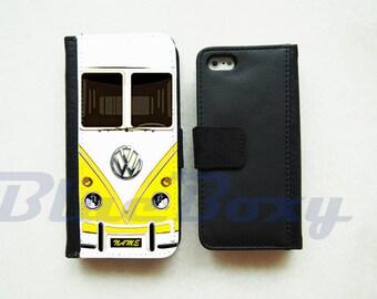 Mini Bus Yellow Wallet Case - iPhone 7, iPhone 6 Case, iPhone 6 Plus, iPhone 5, iPhone 5s, iPhone 4/4s, Leather Wallet Case, Flip Case