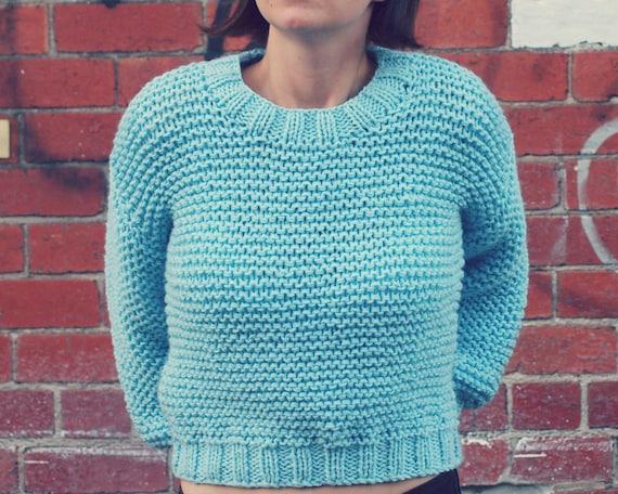 PDF Knitting Pattern Super Chunky Easy Knit Jumper Sweater Midriff Ladies Wom...