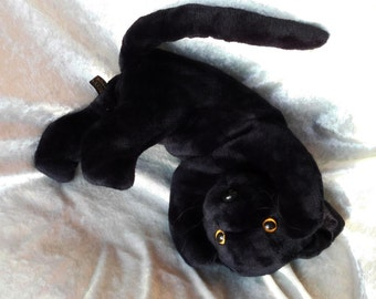 BLACK Cat plush, stuffed cat black, black cat toy plushie, soft toy cat black, black panther floppy, Luxury supersoft cat toy, MADE to ORDER