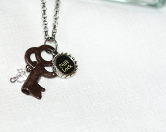 Vintage Skeleton Key Necklace with Shift Lock Typewriter Key Charm.  Eco Friendly Gift.