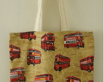 London Buses Bag made with Nutex  London Map Fabric 100% Cotton handmade lined with pockets bag