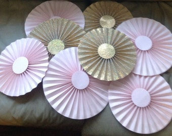 Glitter Gold and Light Pink Rosettes