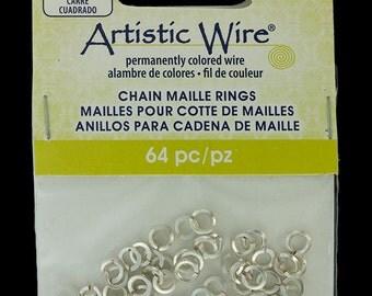 """Artistic Wire Square Wire Silver Color Jump Ring 3.1mm ID (1/8"""") 18ga (900AWSQ-03)"""