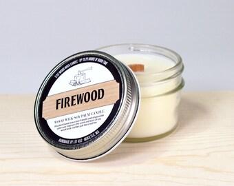 Firewood Candle - Mason Jar Candle - Man Candle - Wood Wick Candle - 3 oz Soy Candle