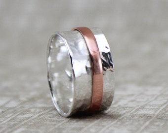 Silver and Copper Spinner Ring - Fidget Jewelry - Meditation Ring
