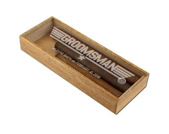 Personalized Acrylic Top Cigar Gift Box, Customized Groomsmen Cigar Box, Groomsman Wings Design [WED-002]