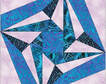 Folded Star Paper Piece Templates Quilting Block Pattern
