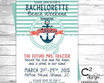 Mint & Coral Nautical Bachelorette Beach Weekend Invitation