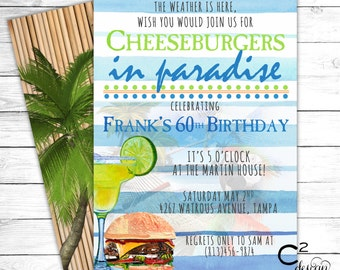 Jimmy Buffett Margaritaville Party Invitation