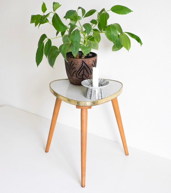 mid century modern plant stand small atomic triangular table formica german table 1950s tripod. Black Bedroom Furniture Sets. Home Design Ideas