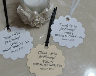 "Personalized Wedding or Bridal Shower Tea  Favor Tags 2"" Wedding tags, Thank You tags, Favor tags, Bridal Shower Favor Tags"