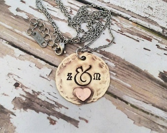 Hand Stamped Textured Brass Necklace with Soldered Copper Heart Accent - Custom - Name - Monogram