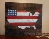 United States Flag Pallet Wood Sign! Americana Decor, Red White and Blue, Go USA, USA Outline, Rustic, 4th of July Decor, Soldier, July 4