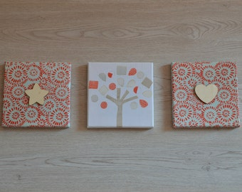 Modern Baby Room; Red Nursery Decor; Set of 3 Canvas Prints and Wooden Shapes