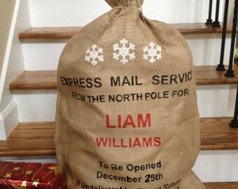 PERSONALISED Christmas Sack -Burlap Santa Bag Stocking with Snowflakes
