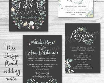 Printable Wedding Invitation Suite / Floral Wedding Invite / Rustic Wedding / Vintage / Save the date, Invitation, RSVP, and Reception Cards