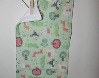 Zoo Animals Cotton Flannel and Terry Burp Cloth