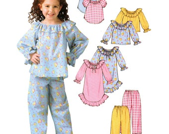 McCall's Sewing Pattern M4636 Girls' Nightgown, Tops, Pants  Size:  A  3-4-5-6  Used