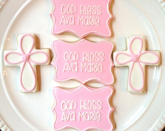 Custom Christening, Baptism, or First Communion Cookies-One Dozen