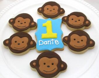 Monkey Cookies/ First Birthday Cookies-One Dozen