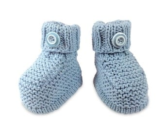 Hand knitted - baby booties, baby bootees in pale blue, light blue, baby blue, blue