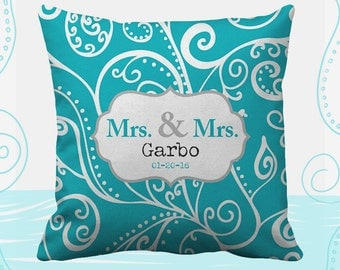 Mrs and Mrs Personalized Printed Throw Pillows. 14 Colors Available, Wedding Gift, Home Decor, Cushion, Newlywed, Bride, Lesbian, Silent Era
