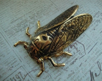 Cicada Brooch - Blackened Brass Cicada Brooch Pin - Insect Bug Wings Fly Dormant Summer Swarm - Bug Collector - Insect Collector