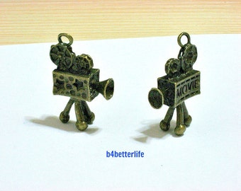 "Lot of 24pcs Antique Bronze Tone ""Antique Movie Camera"" Metal Charms. #BC2836."