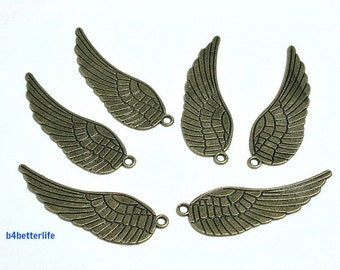 "Lot of 24pcs Antique Bronze Tone ""Angel Wing"" Metal Charms. #BC1200b."