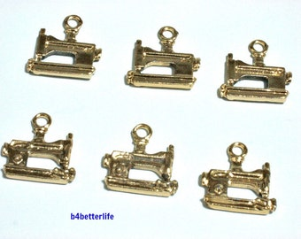 "Lot of 24pcs ""Sewing Machine"" Gold Color Plated Metal Charms. #XX565."
