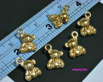 """6pcs Double Sided """"Teddy Bear"""" Gold Color Plated Metal Charms. #XX178w."""