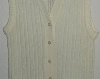 Vintage Long Sweater Vest by Montgomery Ward 1960's , Sleeveless Cardigan