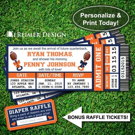 ... , Football, Blue, Orange, DIY Word Template, Diaper Raffle Tickets
