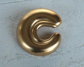 "Vintage Gold Tone ""C"" Brooch, Letter C Pin"