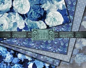Blue Floral Digital Paper Pack / White and Blue Digital Paper / William Morris Bird Digital Paper / Printable Scrapbook Paper / Cottage Chic