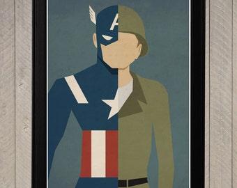 Captain America - Steve Rogers Alter Ego Minimalist Poster, Retro Movie Poster, Art Print